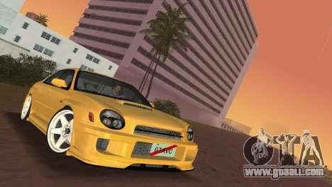 Subaru Impreza WRX 2002 Type 5 for GTA Vice City back view