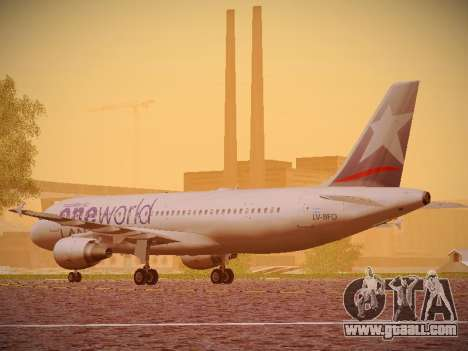 Airbus A320-214 LAN Oneworld for GTA San Andreas back left view