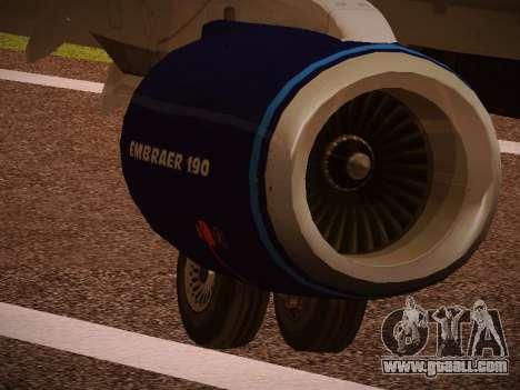 Embraer E190 Azul Tudo Azul for GTA San Andreas upper view