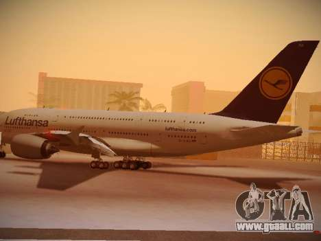 Airbus A380-800 Lufthansa for GTA San Andreas back left view
