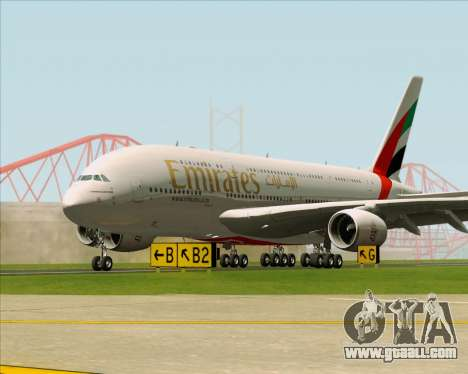 Airbus A380-841 Emirates for GTA San Andreas bottom view