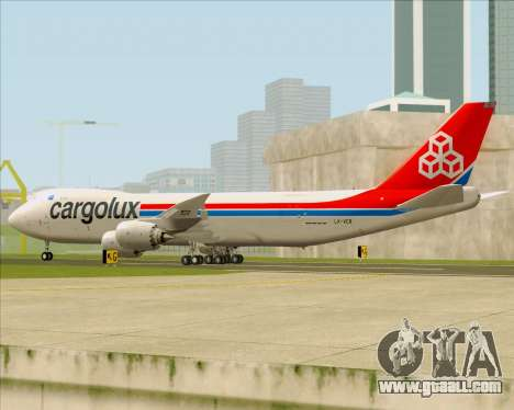 Boeing 747-8 Cargo Cargolux for GTA San Andreas back left view