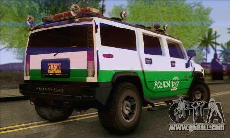 Hummer H2 Colombian Police for GTA San Andreas left view