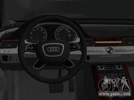Audi A8 2010 W12 Rim1 for GTA Vice City back view