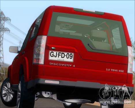 Land Rover Discovery 4 for GTA San Andreas bottom view