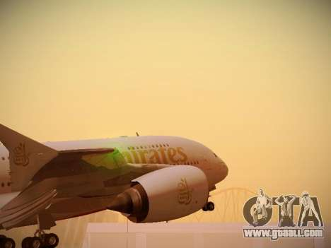 Airbus A380-800 Emirates for GTA San Andreas back view