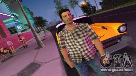 Kockas polo - barna T-Shirt for GTA Vice City second screenshot