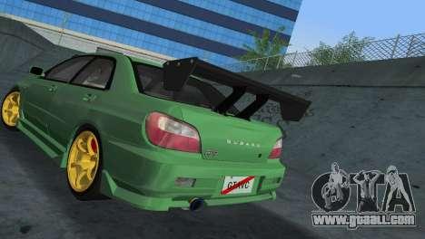 Subaru Impreza WRX 2002 Type 3 for GTA Vice City back view