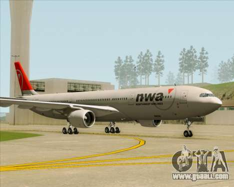 Airbus A330-300 Northwest Airlines for GTA San Andreas right view