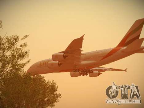Airbus A380-800 Emirates for GTA San Andreas bottom view