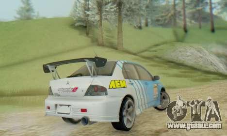 Mitsubishi Lancer Turkis Drift Aem for GTA San Andreas back left view