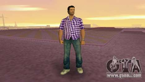 Kockas polo - lila T-Shirt for GTA Vice City second screenshot