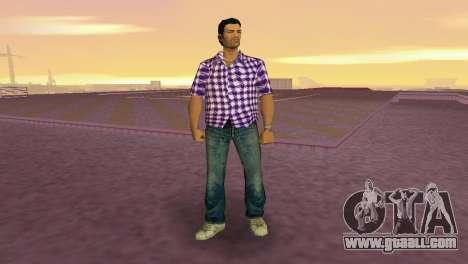 Kockas polo - lila T-Shirt for GTA Vice City second screenshot