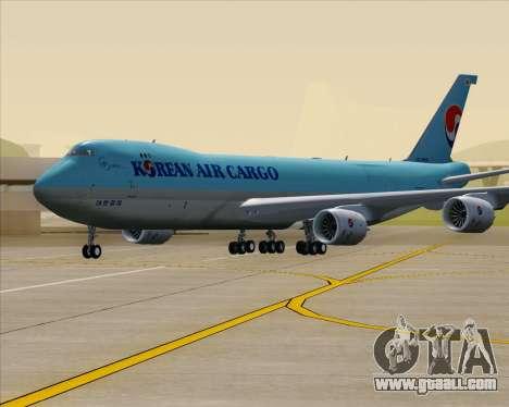 Boeing 747-8 Cargo Korean Air Cargo for GTA San Andreas upper view