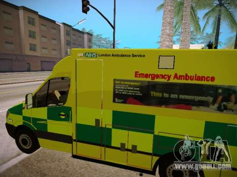 Mercedes-Benz Sprinter London Ambulance for GTA San Andreas side view