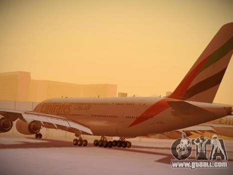Airbus A380-800 Emirates for GTA San Andreas back left view