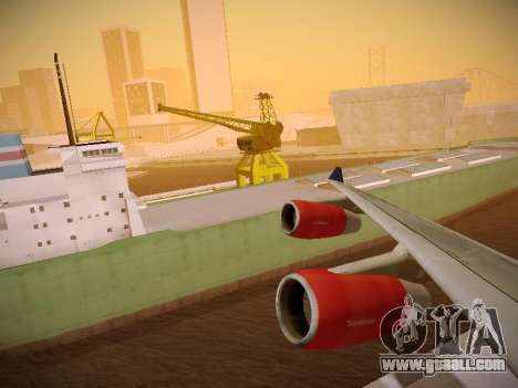 Airbus A340-300 Scandinavian Airlines for GTA San Andreas bottom view