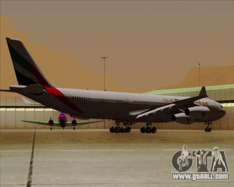 Airbus A340-313 Emirates for GTA San Andreas back view