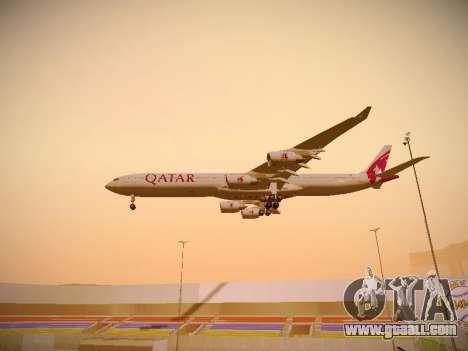 Airbus A340-600 Qatar Airways for GTA San Andreas bottom view