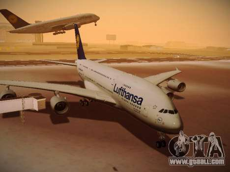 Airbus A380-800 Lufthansa for GTA San Andreas left view