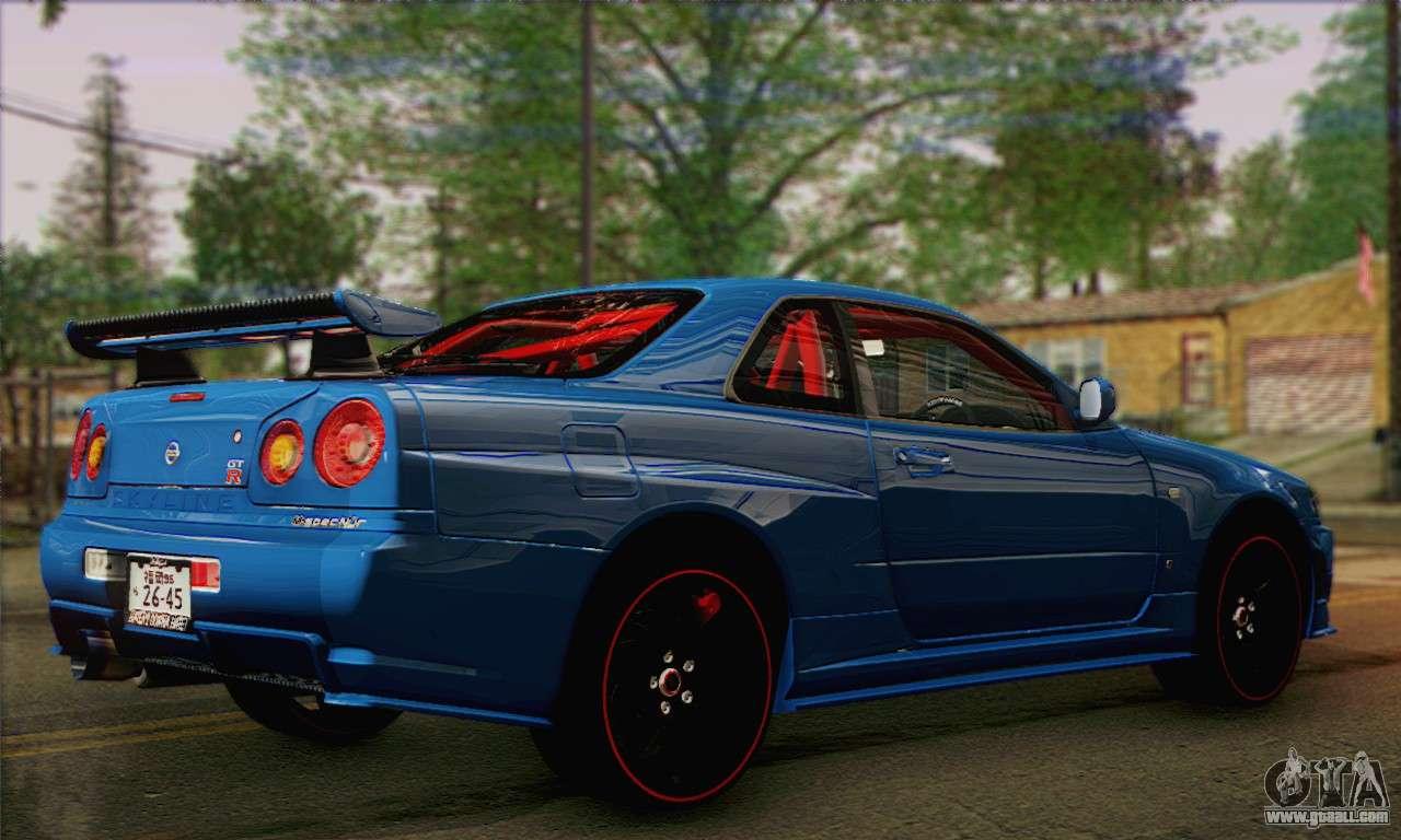 Nissan Skyline Custom >> Nissan Skyline GTR34 for GTA San Andreas
