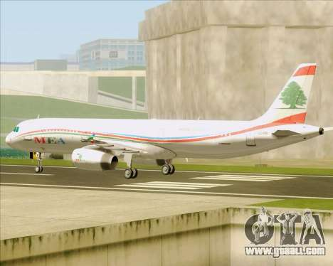 Airbus A321-200 Middle East Airlines (MEA) for GTA San Andreas back view