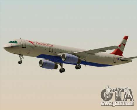 Airbus A321-200 Austrian Airlines for GTA San Andreas upper view