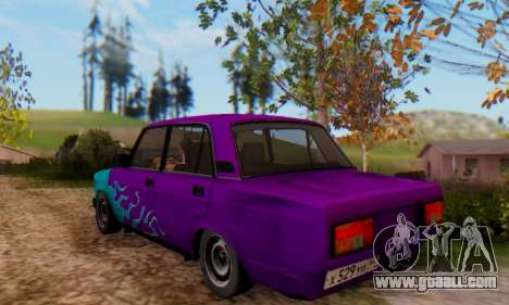 VAZ 2107 Blue Flame for GTA San Andreas back left view