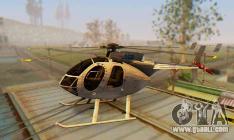 The MD500E helicopter v3 for GTA San Andreas left view