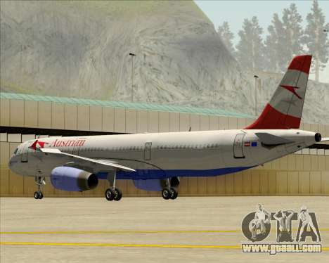 Airbus A321-200 Austrian Airlines for GTA San Andreas bottom view