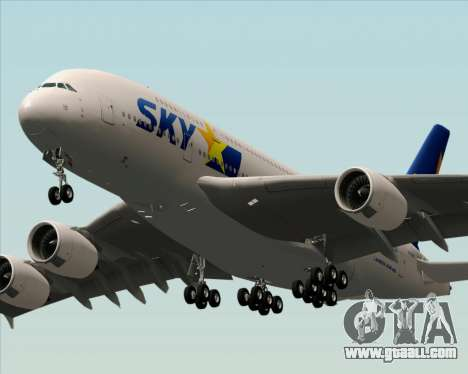 Airbus A380-800 Skymark Airlines for GTA San Andreas back left view