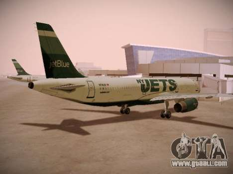 Airbus A321-232 jetBlue NYJets for GTA San Andreas back left view