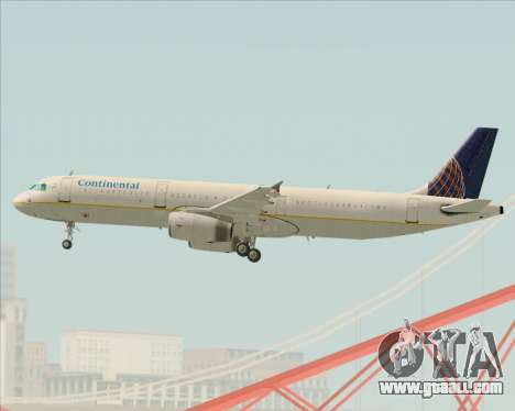 Airbus A321-200 Continental Airlines for GTA San Andreas side view