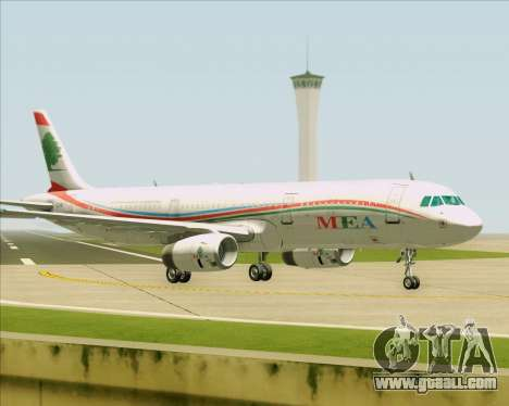 Airbus A321-200 Middle East Airlines (MEA) for GTA San Andreas back left view