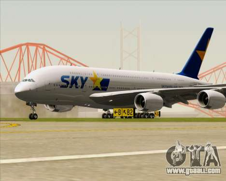 Airbus A380-800 Skymark Airlines for GTA San Andreas left view