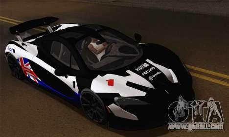 McLaren P1 Black Revel for GTA San Andreas inner view