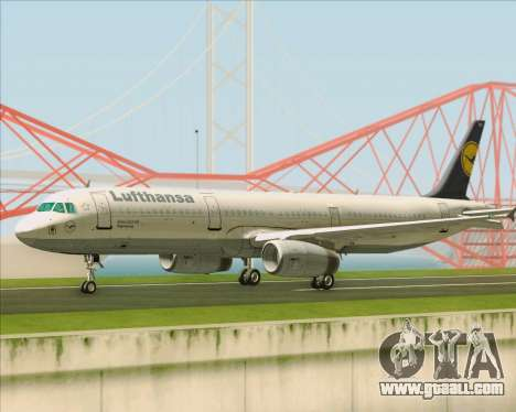 Airbus A321-200 Lufthansa for GTA San Andreas back left view