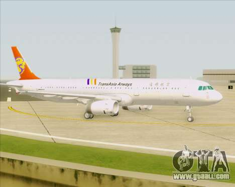 Airbus A321-200 TransAsia Airways for GTA San Andreas bottom view