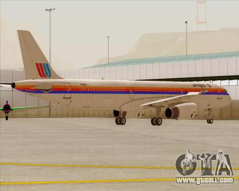 Airbus A321-200 United Airlines for GTA San Andreas wheels