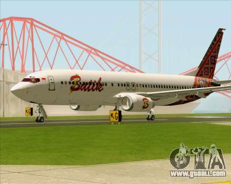 Boeing 737-800 Batik Air for GTA San Andreas back left view