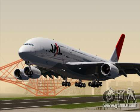 Airbus A380-800 Japan Airlines (JAL) for GTA San Andreas left view