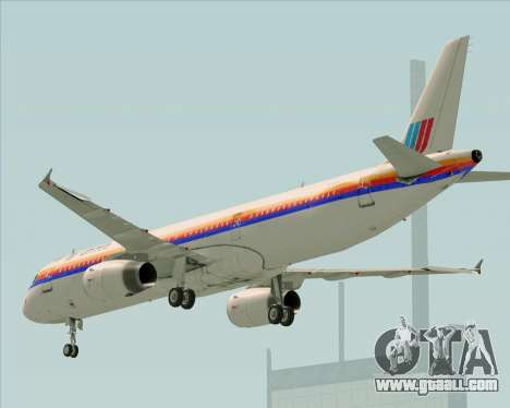 Airbus A321-200 United Airlines for GTA San Andreas side view