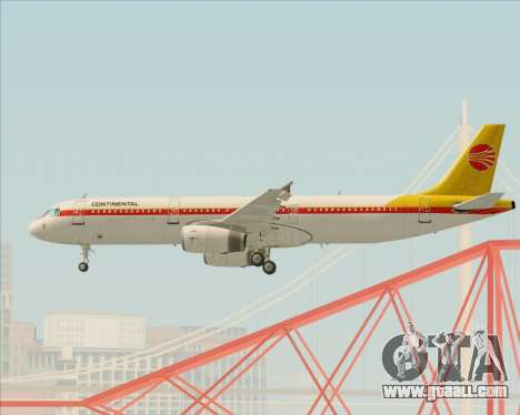 Airbus A321-200 Continental Airlines for GTA San Andreas bottom view