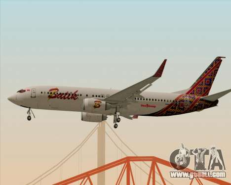 Boeing 737-800 Batik Air for GTA San Andreas right view