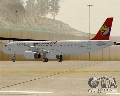 Airbus A321-200 TransAsia Airways for GTA San Andreas back view