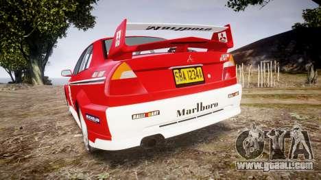 Mitsubishi Lancer Evolution VI Rally Marlboro for GTA 4 back left view