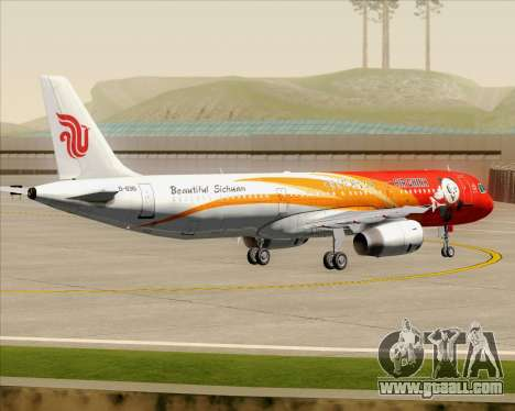 Airbus A321-200 Air China (Beautiful Sichuan) for GTA San Andreas bottom view