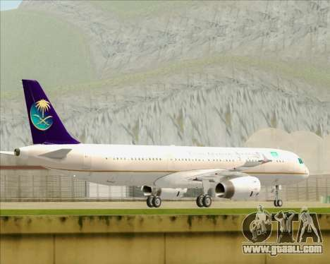 Airbus A321-200 Saudi Arabian Airlines for GTA San Andreas back left view