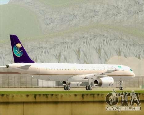 Airbus A321-200 Saudi Arabian Airlines for GTA San Andreas back left view