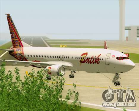 Boeing 737-800 Batik Air for GTA San Andreas back view